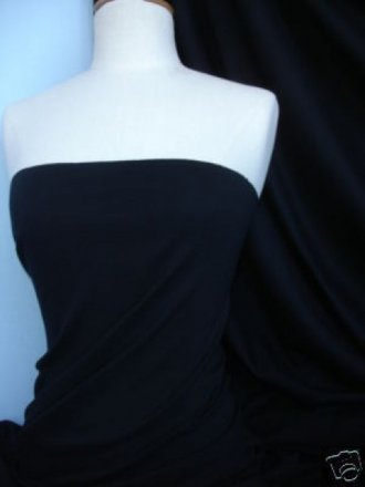 Soft Fine Rib 100% Cotton Knit Material - Black Q61 BK