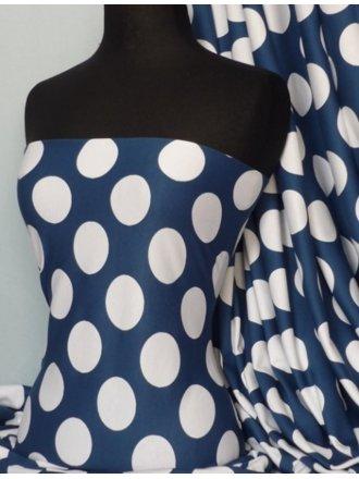 100% Cotton Interlock Knit Soft Jersey T-Shirt Fabric- White Spots On Blue Q301 BL
