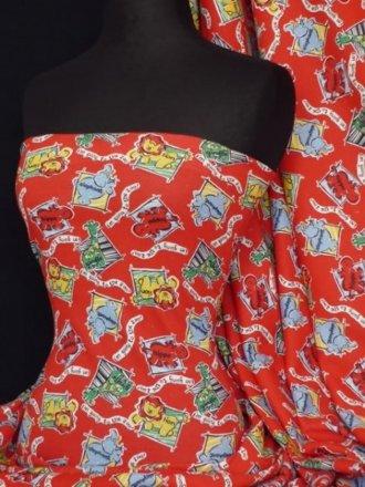 100% Cotton Interlock Knit Soft Jersey T-Shirt Fabric- Red Zoo Animal Q434 RD