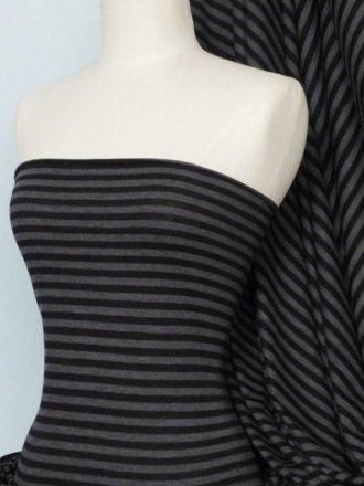 Stripe 100% Viscose Fabric Material- Black/Charcoal Q798 BKCHR