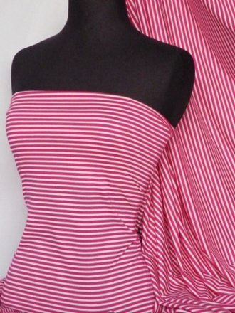 100% Viscose Jersey Fabric- Stripe Pink/White Q851 PNWHT