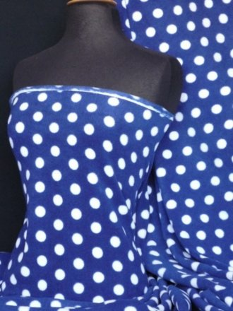 Polar Fleece Anti Pill Washable Soft Fabric- Royal Blue/ White Polka Dots Q44 RBLWHT