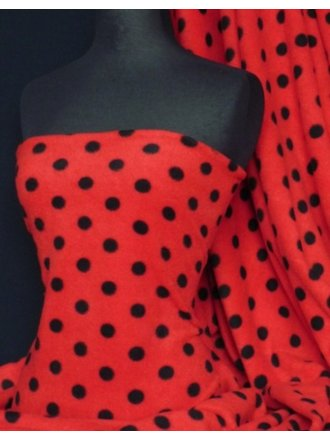 Polar Fleece Anti Pill Washable Soft Fabric- Red/Black Polka Dots Q44 RDBK