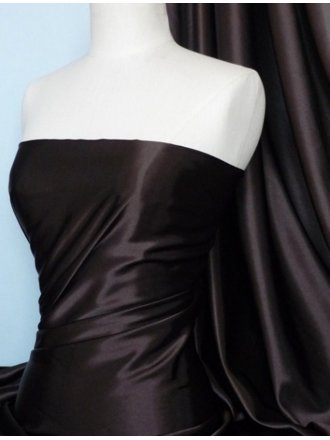 Satin Fabric Material- Dark Chocolate Q449 DCHO