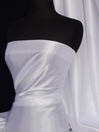 Satin Fabric Material- White Q449 WHT