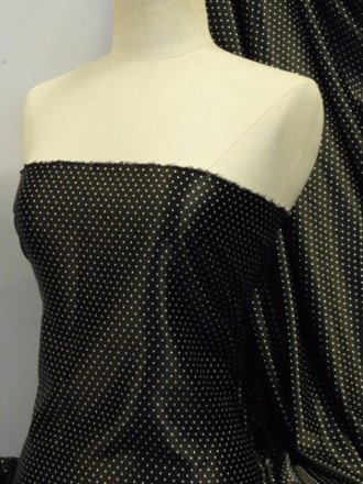 Super Soft Satin Fabric- Black Pin Spots Q831 BKWHT