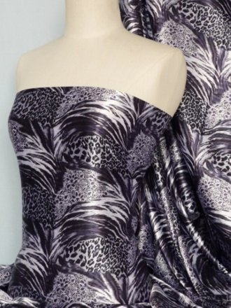 Super Soft Satin Non-Stretch Fabric- Dark Purple Animal Q549 DPPL