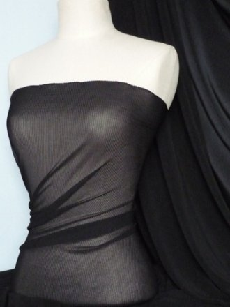 Chiffon Shimmer Pleated Stretch Sheer Material- Black Q621 BK