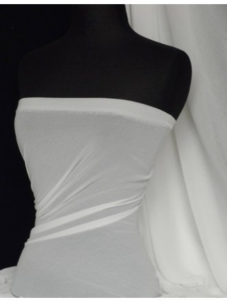 Crinkle Sheer Chiffon Material- White Q795 WHT
