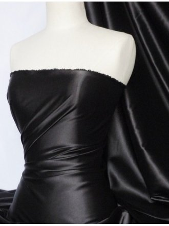 Fluid Super Soft Satin Stretch Fabric- Black Q855 BK