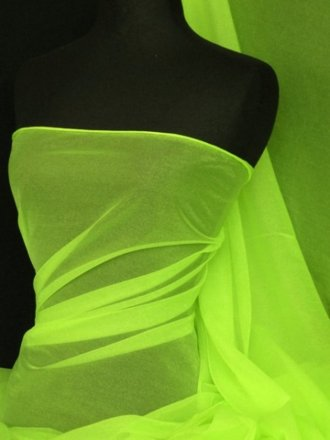 Organza Sparkle Shimmer Net Material- Fluorescent Yellow Q972 FLYL