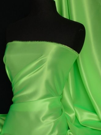 Acetate Satin Fabric Material- Flo Lime Q824 FLM