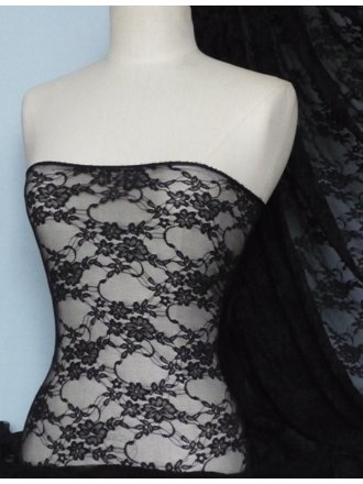 Flower Stretch Lace Fabric- Black Q137 BK