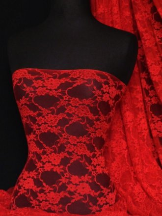 Flower Stretch Lace Fabric- Red Q137 RD