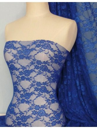 Flower Stretch Lace Fabric- Royal Blue Q137 RBL