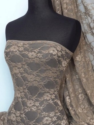 Flower Stretch Lace Fabric- Mocha Brown Q137 MCH
