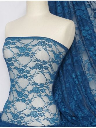 French Blue Flower Stretch Lace Fabric