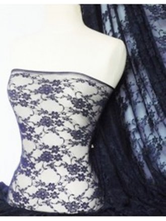 Navy Blue Flower Stretch Lace Fabric
