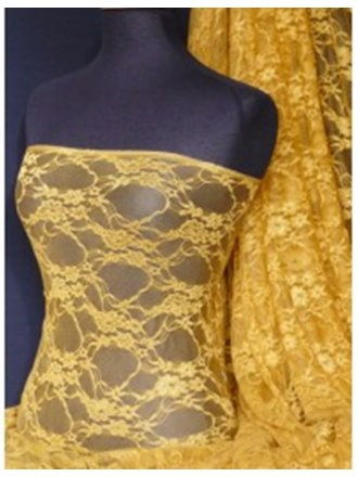 Mustard Yellow Flower Stretch Lace Fabric