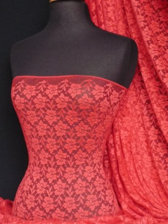 Lace Roses Stretch Fabric- Tomato Red Q365 TMRD