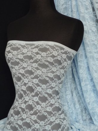 Blue Daisy 4 Way Stretch Lace Lycra Fabric