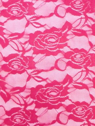 Lace Rose Flower Stretch Fabric- Cerise Pink Q963 CRS