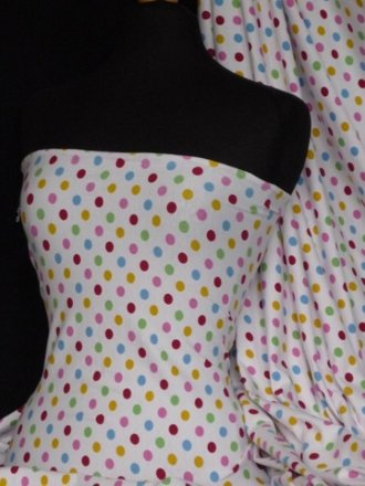 Cotton Lycra Jersey 4 Way Stretch Fabric - Multi Polka Dots Q968 MLT