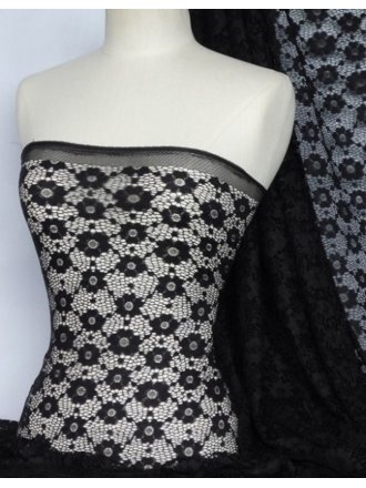 Lace Daisy Stretch Fabric- Black Q906 BK