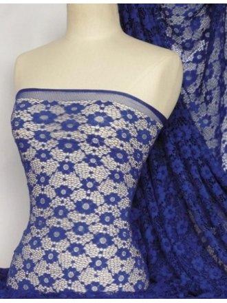 Lace Daisy Stretch Fabric- Royal Blue Q906 RBL