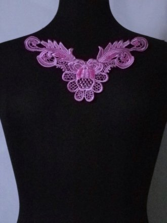 Sequin Floral Lace Neck Piece- Violet Purple EM140 VPPL