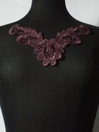 Sequin Floral Lace Neck Piece- Aubergine Purple EM140 AUB