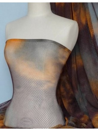 Tie-Dye Fishnet 4 Way Stretch Material- Grey/Orange Q713 GROR
