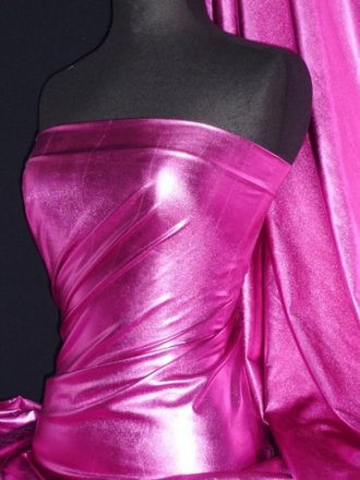 Wet Look Foil Stretch Lycra Fabric- Cerise NG253 CRS
