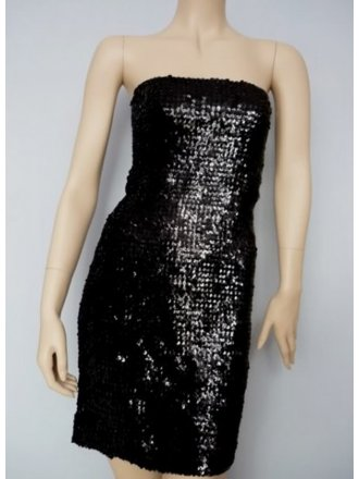 Black Fully Sequined Stretchy Material with Elastene