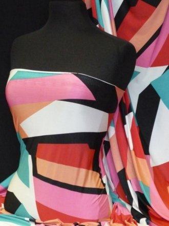 Silk Touch 4 Way Stretch Fabric- Geometric Print Q870 MLT