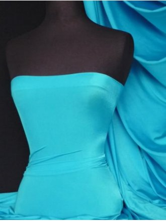 Shiny Lycra 4 Way Stretch Material- Turquoise Blue Q54 TQS