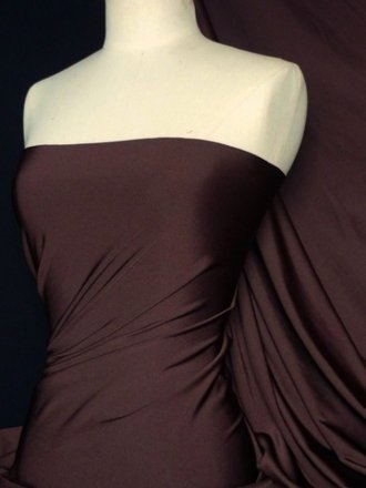Shiny Lycra 4 Way Stretch Material- Earth Brown Q54 EBR