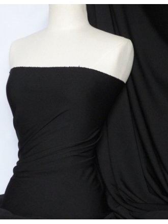 Cuba 4 Way Stretch Poly Lycra Fabric- Black Q720 BK