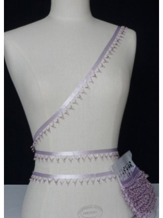 Soft Lilac Beaded Triangular-Edged Trimming
