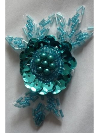 Turquoise Blue Sequin Iron On Motif