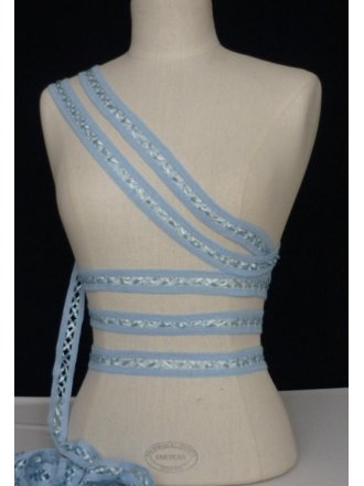 3 Metres Baby Blue Criss-Cross Ribbon Trim