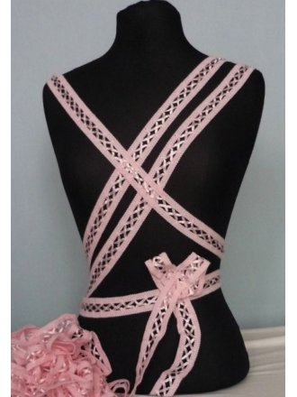 3 Metres Baby Pink Criss-Cross Ribbon Trim