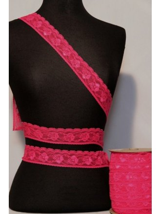 Hot Pink Floral Scalloped Lace Trimming