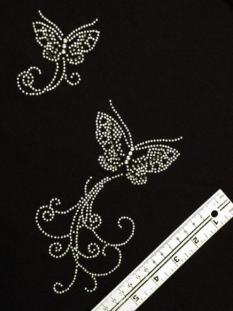 Silver Grey Butterfly Iron-On Rhinestuds