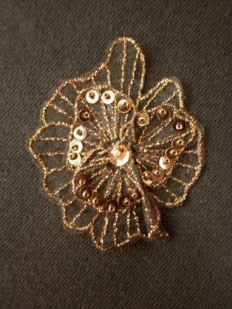 Sequin Flower Embellishment- Brown EM141 BR