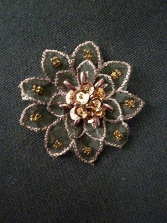 Sequin Flower Embellishment- Brown EM142 BR
