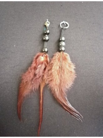 Feather Embellishment (Two Set)- Brown EM215 BR