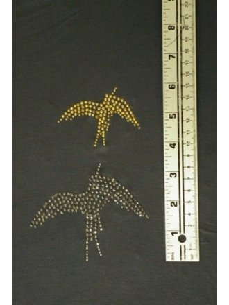 Two Gold/Grey Iron-On Rhinestud Birds