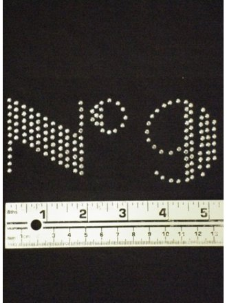 Silver 'No 9' Iron-On Rhinestud