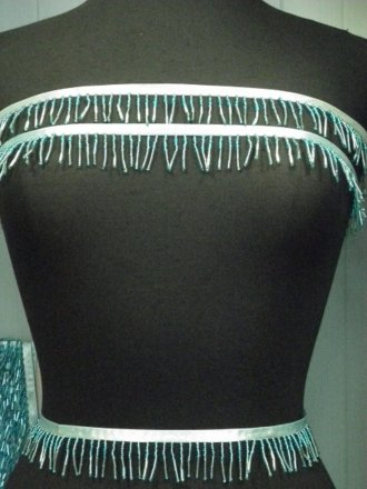Aqua Blue Beaded Fringe Trimming